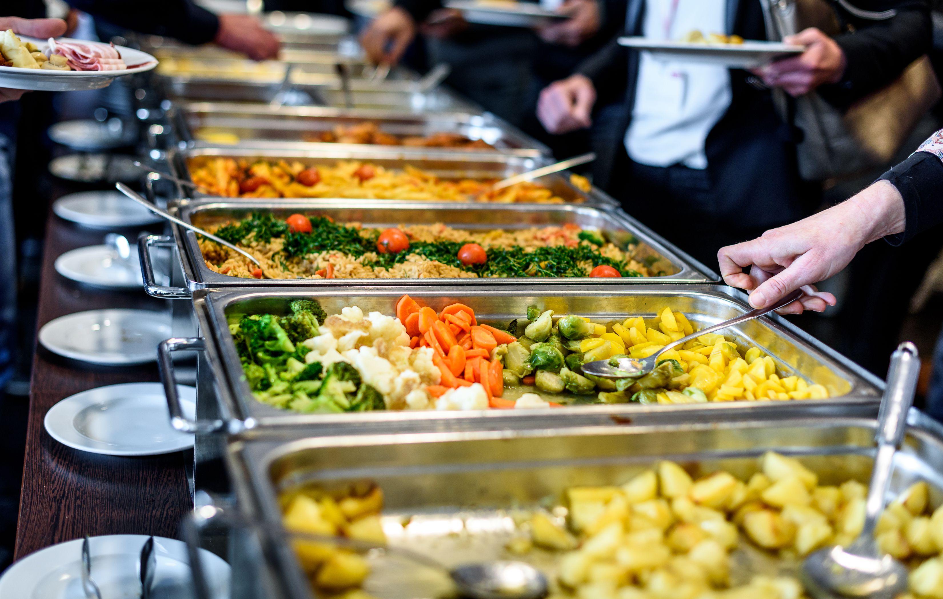 barra de comida caliente, banquete, catering